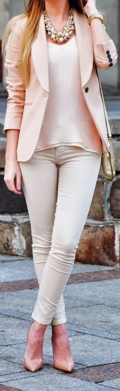 Fashion Is Life: Beautiful Light Pink Blazer & Pink Top & White Skinny Pant