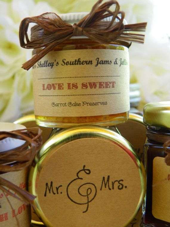Love as Sweet as Tea Wedding Jam Favors - 25 (1.5oz) Hexagon jars with your Choice jam flavor and Customized label