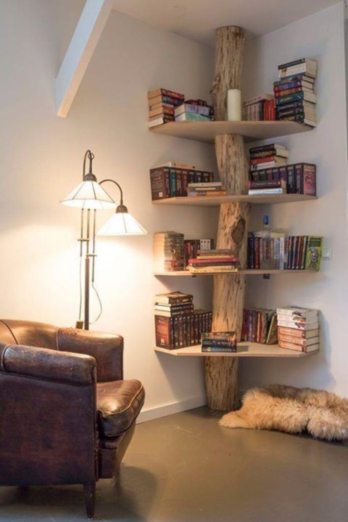 DIY tree trunk corner shelves