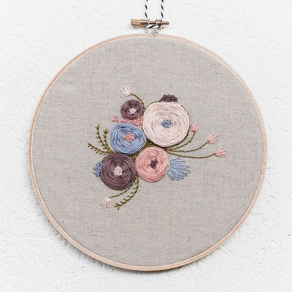 Garden Floral  7' Handmade Embroidery Hoop Art by BrynnandCo