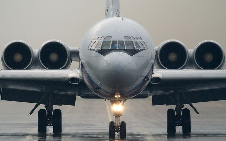 Ilyushin Il-62 Front View Taxiing on Runway