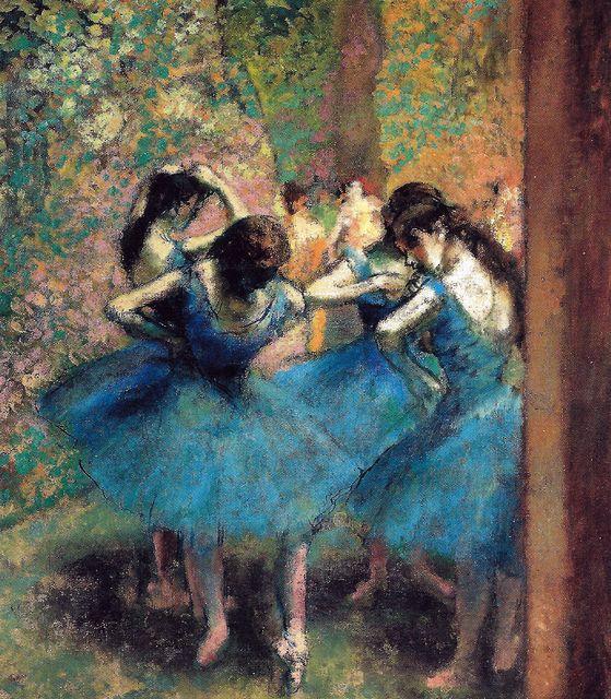D - Edgar Degas - bailarines Azul 1893 en el Museo de Orsay de París. Tiza azul. Sobre el papel marrón.