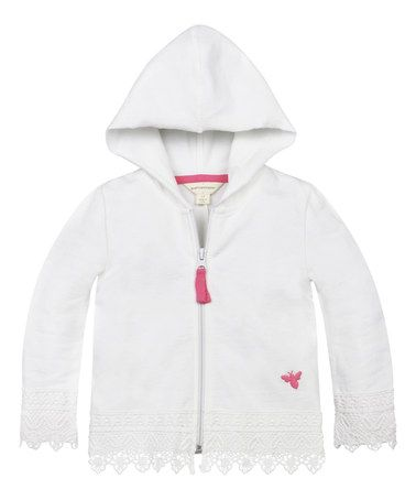 Another great find on #zulily! Cloud Crochet-Trim Organic Zip-Up Hoodie - Infant, Toddler & Girls #zulilyfinds