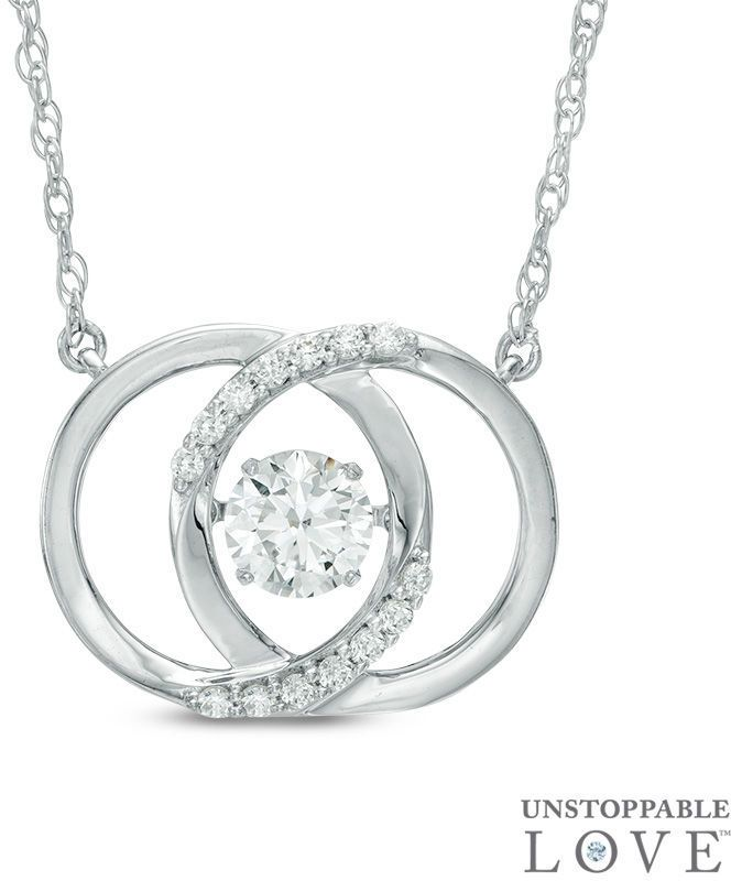 """Zales Unstoppable Loveâ""""¢ 5.0mm Lab-Created White Sapphire Interlocking Circles Necklace in Sterling Silver"""
