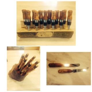Gorgeous olive wood pens, butter & cheese knives & wine stoppers..Great gift ideas #richglenhampers #christmasgifts