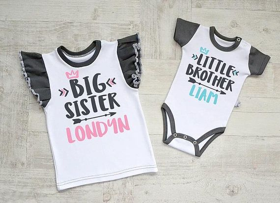 Personalized Big Sister Little Brother Outfit. Big Sister