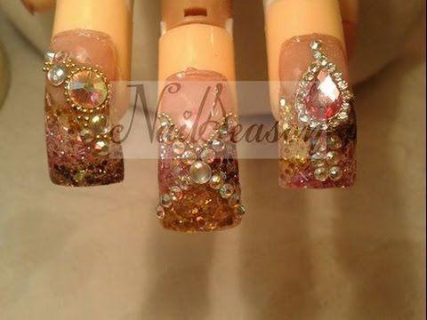 Uñas estilo sinaloa - como decorar uñas con piedras (cristales) 2014 - 2015