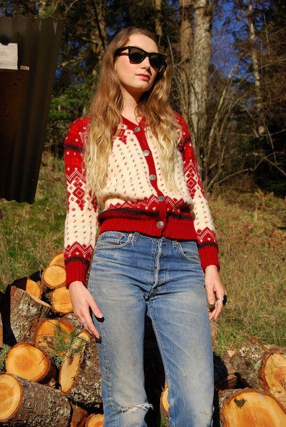 70's Norwegian Sweater Vintage Fair Isle Sweater Red