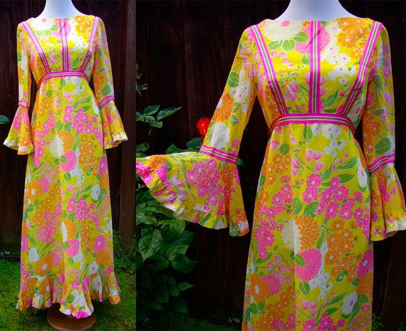 Vintage 1960's Flower Power Bright Yellow Orange Maxi Dress with Bell Sleeves - this has to be late 1960s. I can totally feel and see that in the style.