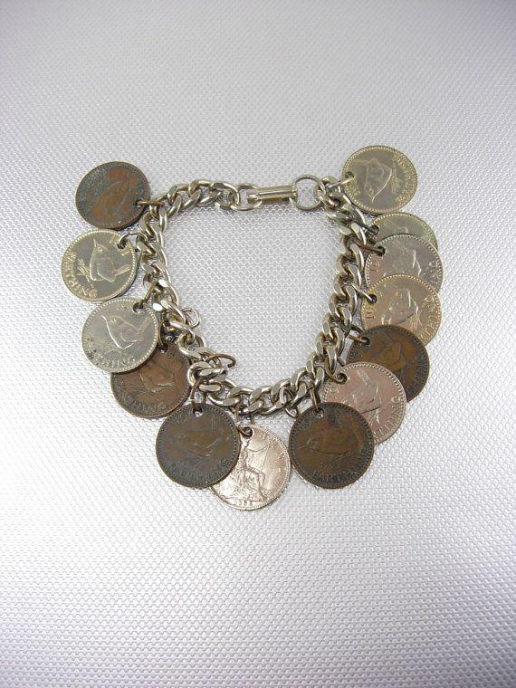 Vintage English Coins Charm Bracelet Silver by NeatstuffAntiques, $75.00