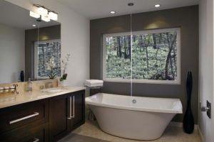 unique bath tub near window