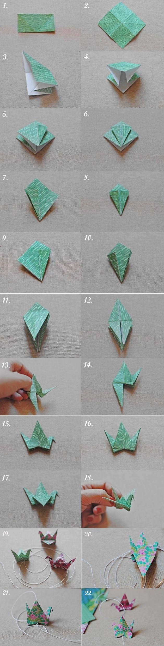 DIY. Cortina de grullas de origami/Origami crane curtain