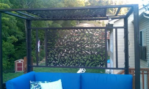 Patio privacy idea - $31 decorative vinyal panel from Home Depot