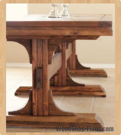 triple pedistal farmhouse table woodworking plans