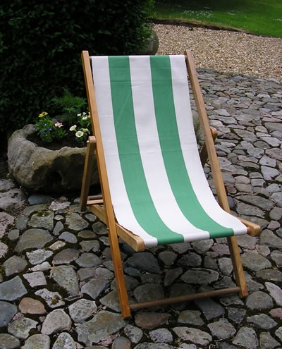 Beautiful Green And White Striped Canvas For Recovering Second Hand Deck Chairs