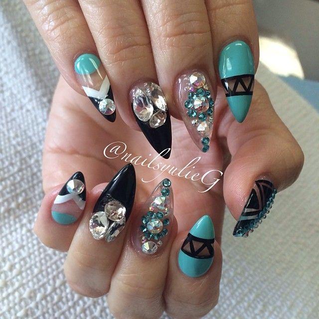 Aqua Black and Bling Almond Stiletto Nails @nailsyulieg