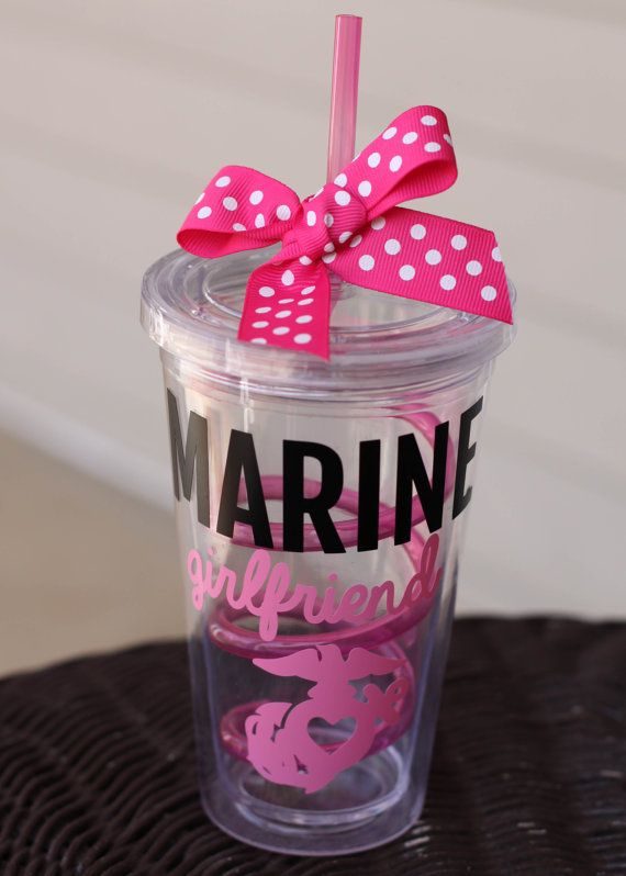 Personalized Pink Marine Girlfriend EGA with Heart Cutout 16oz Tumbler on Etsy, $10.00