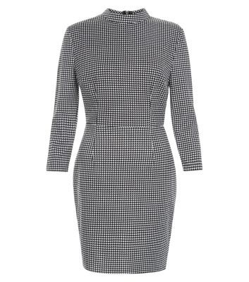 Black Houndstooth Funnel Neck Bodycon Mini Dress