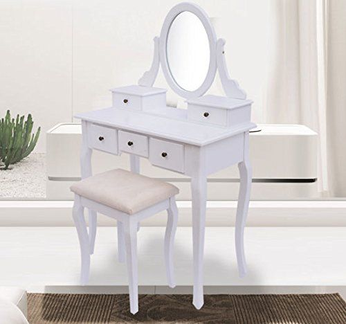 coiffeuse table de maquillage commode de coiffer avec tabouret tiroir et miroir pivotant en. Black Bedroom Furniture Sets. Home Design Ideas
