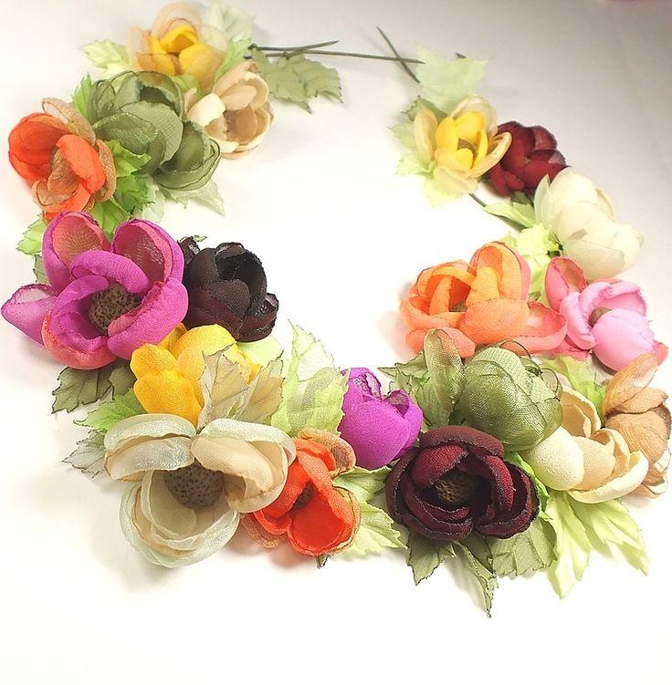 Купить Осенняя Пастораль. Колье, цветы из ткани. - длинное колье, колье, цветы