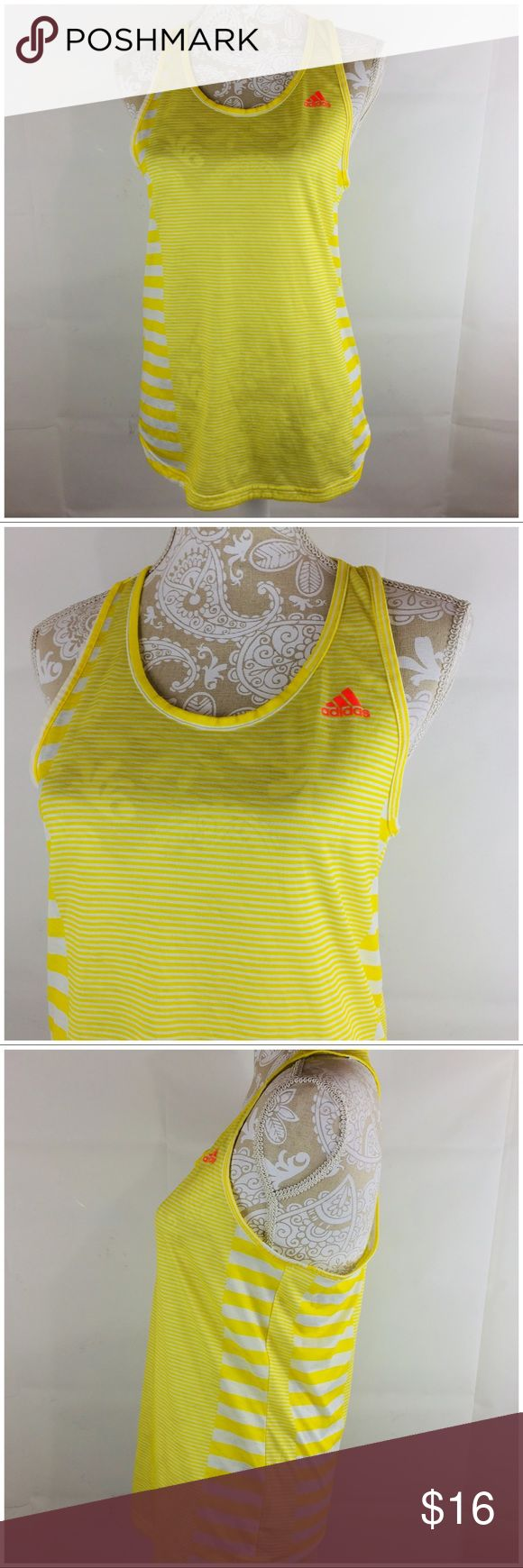 Adidas Climalite Yellow Tank Top Women's Small Adidas Climalite tank top women's size small yellow, striped, lightweight, sheer good pre-owned condition approximate measurements: width underarm to underarm 16 inches length 25 inches adidas Tops Tank Tops