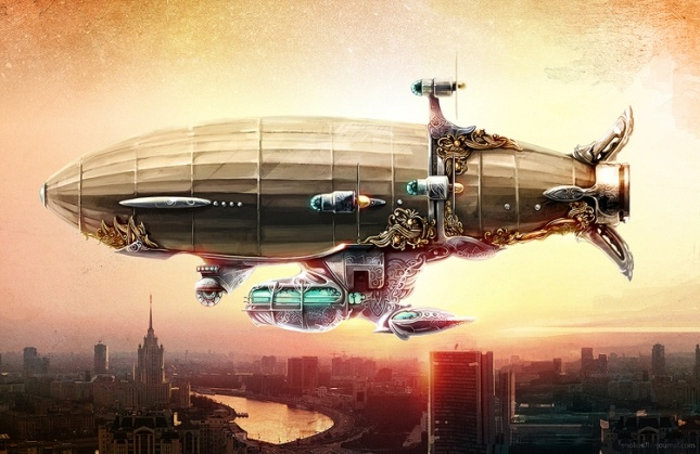 Steampunk Zeppelin   shutterstock stock photo, used for the cover of _Resurrection Engines_ (Snowbooks, 2012) #airship #aerostat