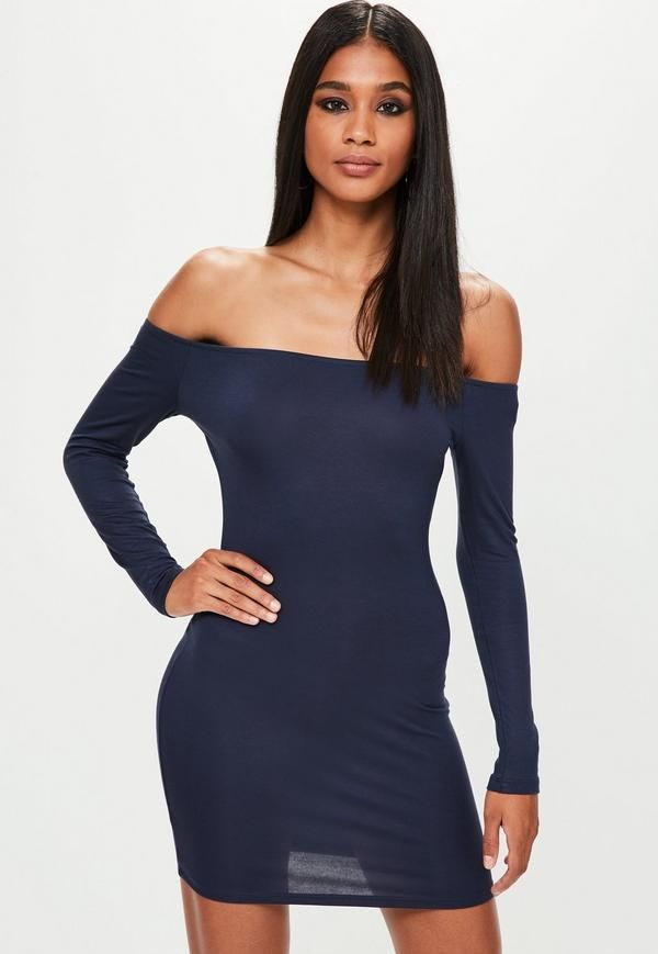 Navy bodycon dress featuring a bardot neckline, long sleeve and jersey fabric. #bodycondresslongsleeve