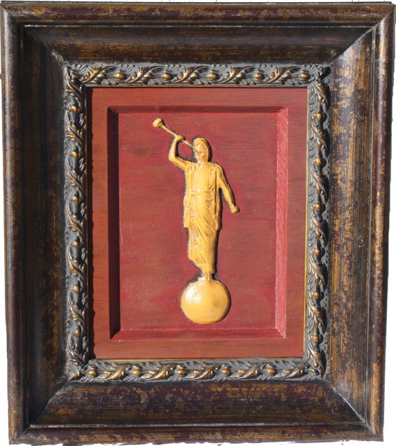 AMAZING wood carvings!!!!  Angel Moroni Carving, Painted LDS Temple Art.