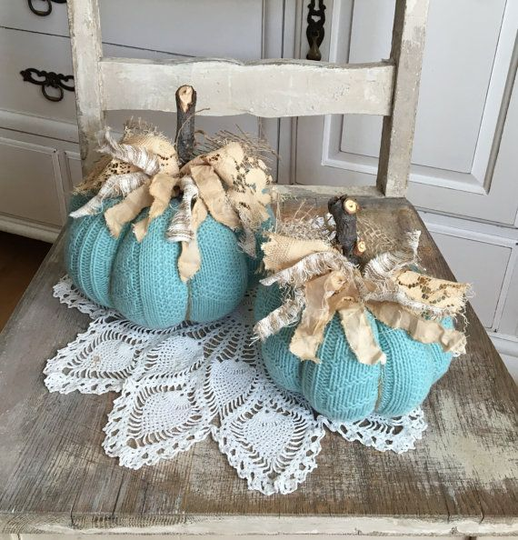 Sweater Pumpkins Set of 2 Aqua fabric by TatteredTreasures1
