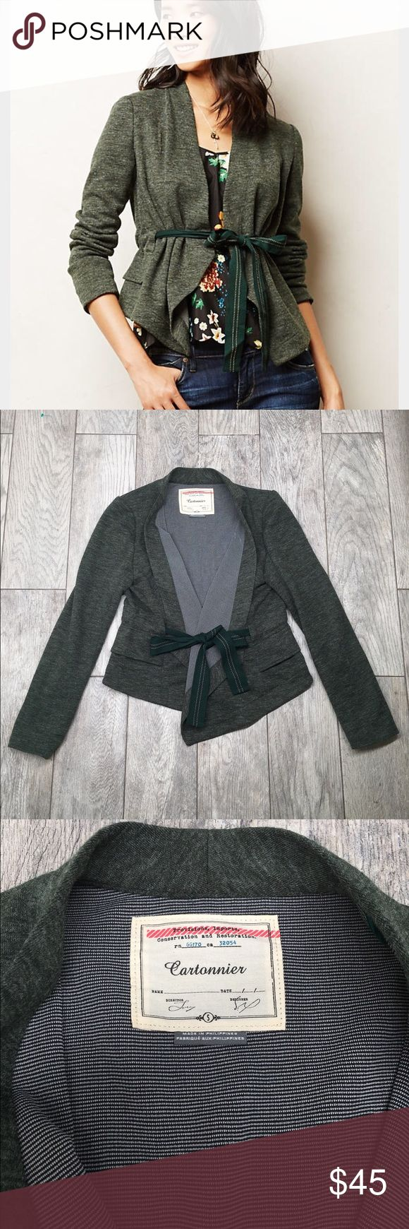 Anthropologie draped peplum jacket green S Anthropologie Cartonnier draped peplum jacket. Beautiful heathered Hunter green color. Ribbon cinched waist makes this jacket very flattering. Soft and comfortable. Front pockets. Fully lined. EUC- no damage. Size small Anthropologie Jackets & Coats Blazers