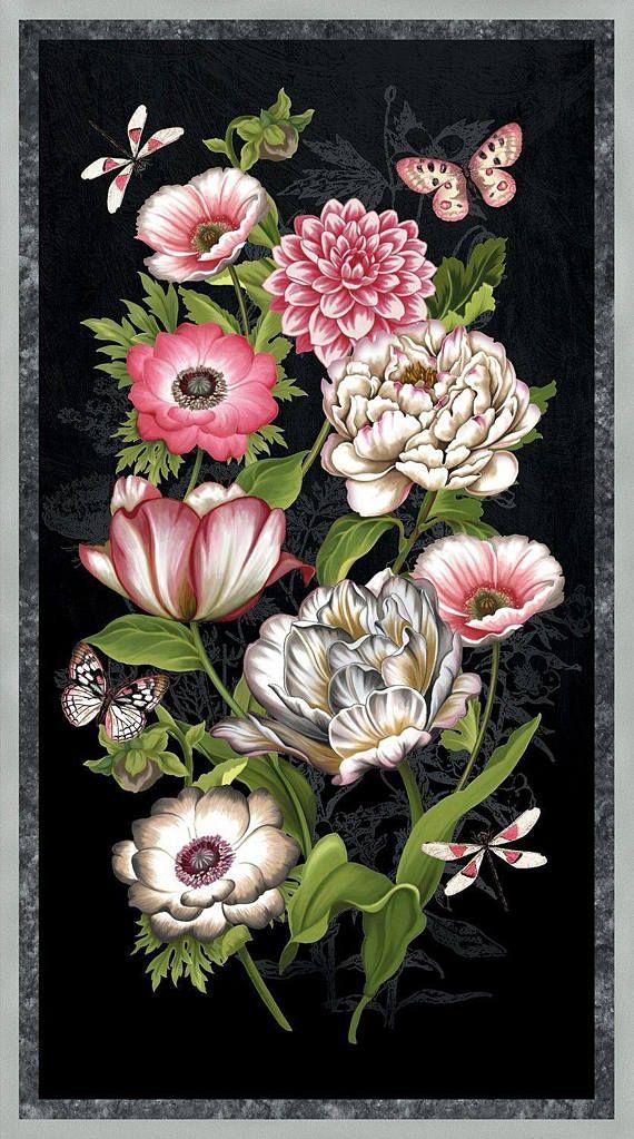 Gorgeous Pink Floral Panel on Black Tivoli Garden Anne ...