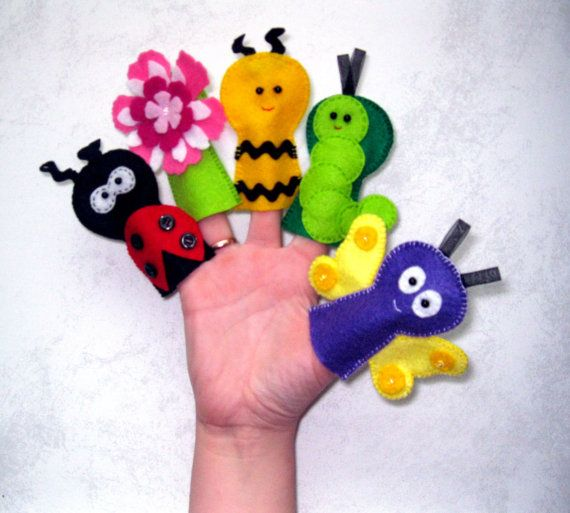 Felt Finger Puppets  -  Set of 5 - butterfly , ladybug , flower , bee , caterpillar  -  Handmade Soft Felt Toy