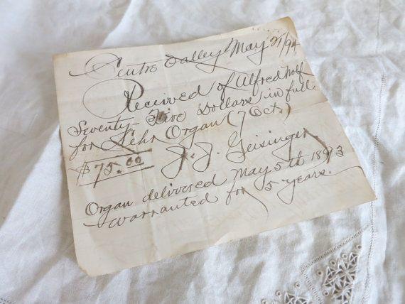 1896 musical instrument receipt
