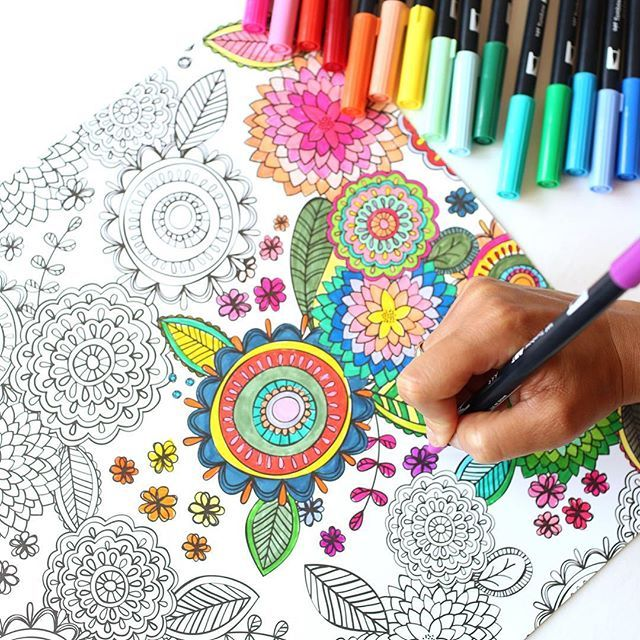 Tombows Dual Brush Pens Are Perfect For Coloring Grab This Page From Amy Tangerine