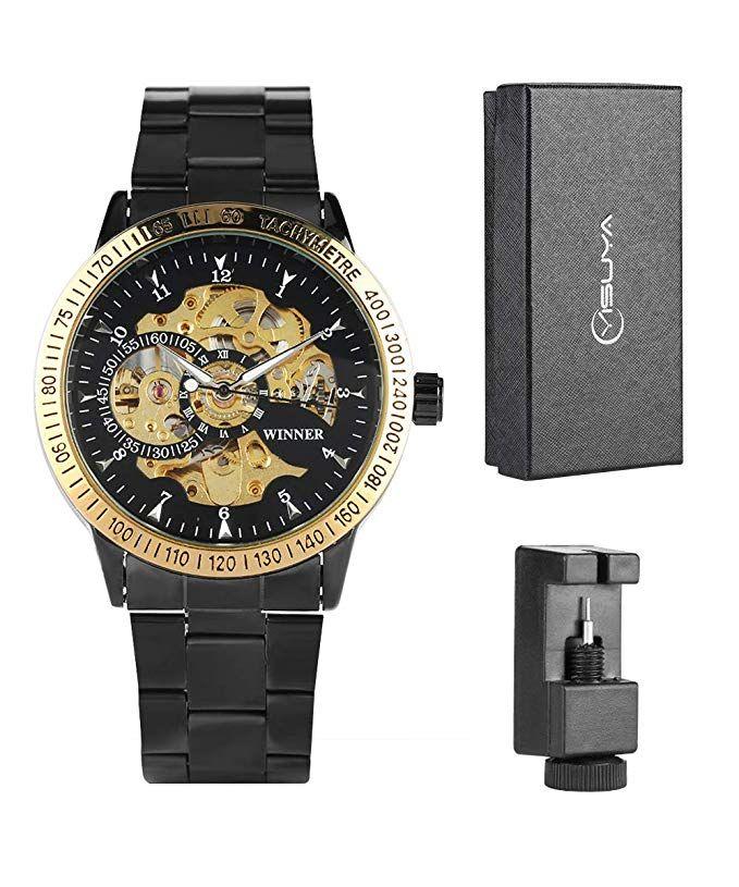 Montre bracelet doré Noir mécanique Vêtements pour hommes