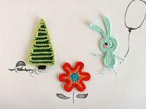 Crochet applique Woodland creatures BUNNY set
