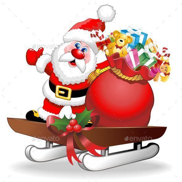 Santa Cartoon and Gifts on Christmas Sleigh