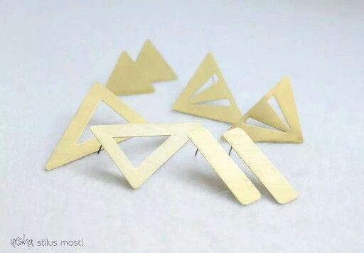 Raw brass geometric jewelry by ursha. www.facebook.com/urshastylenow