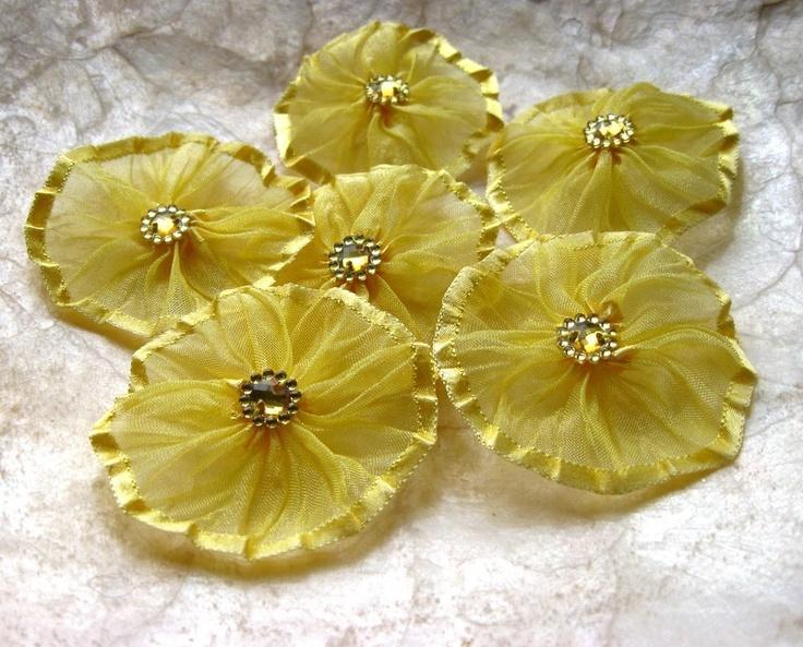 Handmade Organza Ribbon Yo Yo Yellow 6 flowers. $9.00, via Etsy.