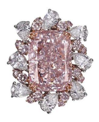Pink and White Diamond Ring
