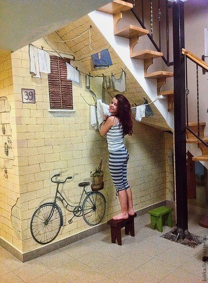 Really cool idea for a mural hand painted under a staircase.  #funmuralidea #funcustommural