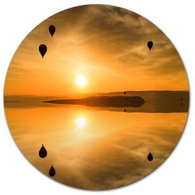 """DesignArt Flying Balloons and Reflection Photographic Print on Metal Size: 11"""" H x 11"""" W x 1"""" D"""