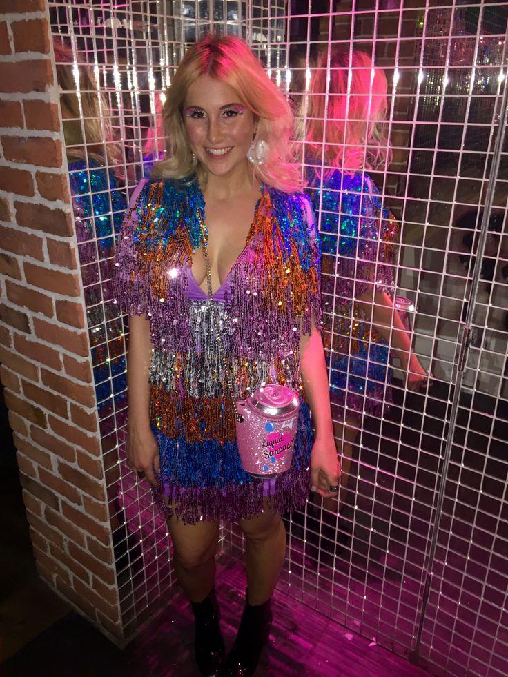 ASOS glitter tinsel dress and Skinnydip bag