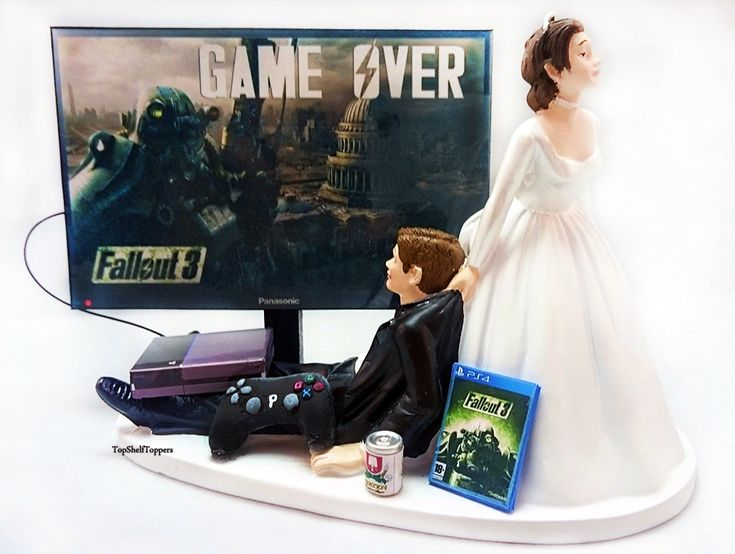 Game Over Fallout Wedding Cake Topper Video Gamer Bride and Groom Xbox One/PS4/PC by TopShelfToppers on Etsy