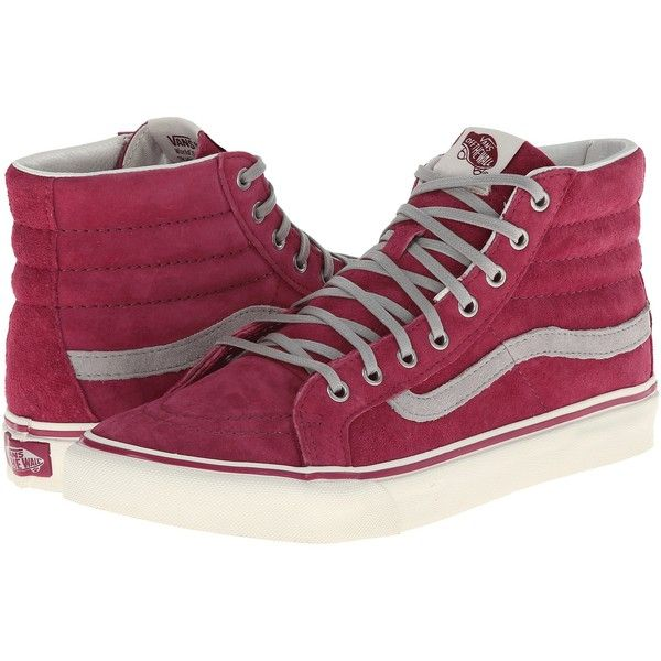 Vans SK8-Hi Slim Wine/Marshmallow) Skate Shoes (£32) ❤ liked on Polyvore featuring shoes, sneakers, red, skate shoes, hi tops, red high top shoes, red hi tops and red high-top sneakers