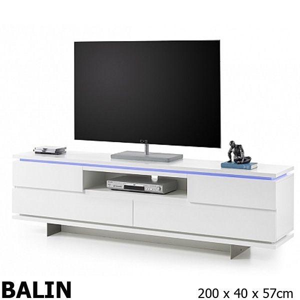 BALIN Fehér TV Szekrény LED
