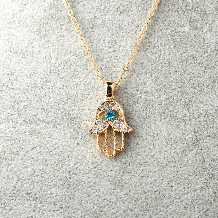 1PC Turkish Crystal Evil Eye Hand Hamsa Pendant Necklace Womens Silver Gold Plated Jewelry Hollow Out Clavicle Link Chains