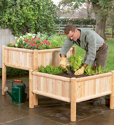Patio garden planter -- good for small spaces, easy on the back, no kneeling !