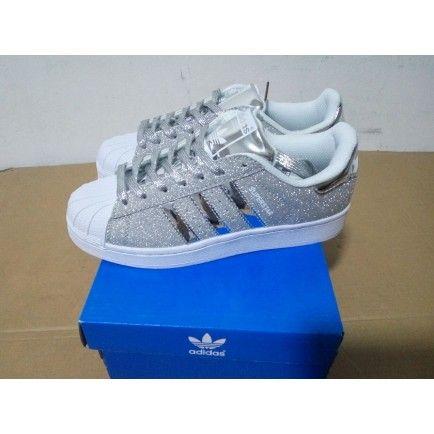 Adidas Superstar Silver Glitter Blue White Trainers   adidas