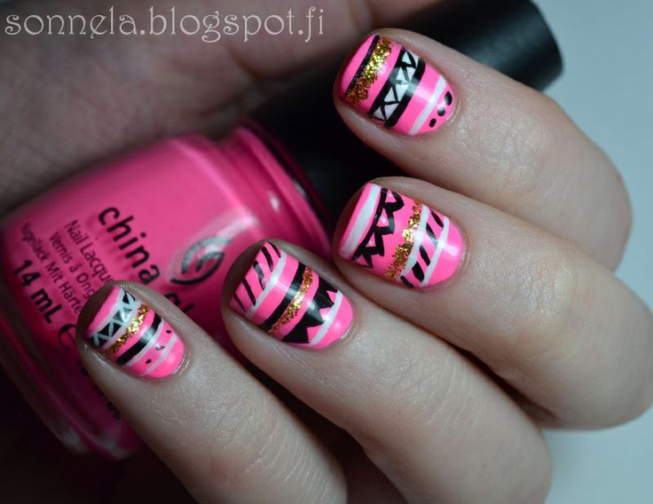 Sonnela: neon aztec--- do black and one of these for accent nail